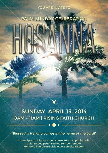 hosanna palm sunday flyer  poster template by ponda