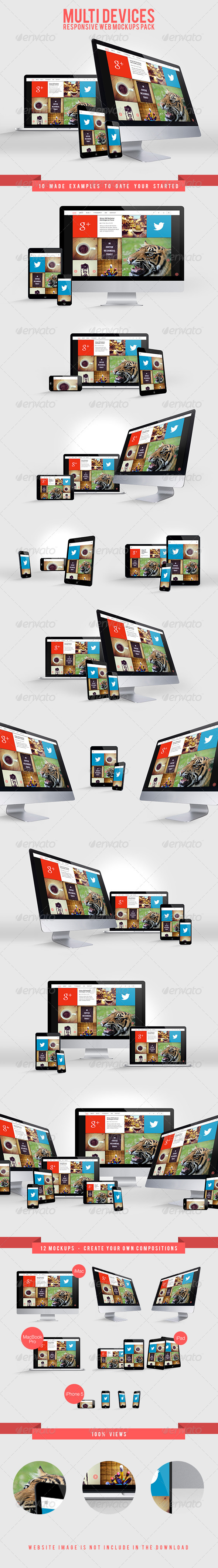 Multi Devices Responsive Web Mockups Pack - Website Displays
