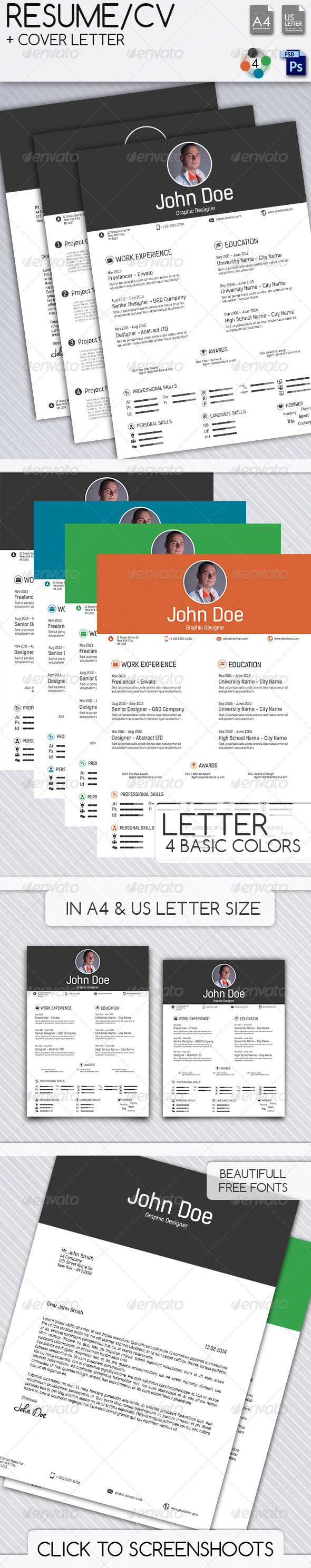 Resume CV - Cover Letter - Resumes Stationery
