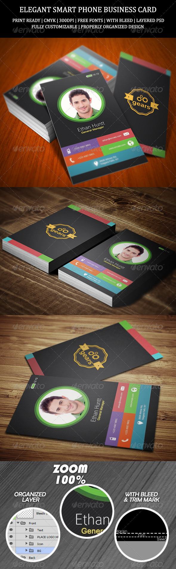 Elegant Smart Phone Business Card - Creative Business Cards