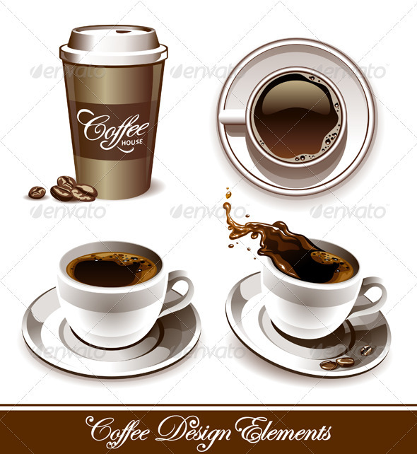 Vector set of coffee cups - Food Objects