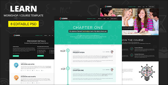 LEARN - Course, Workshop, Seminar PSD template