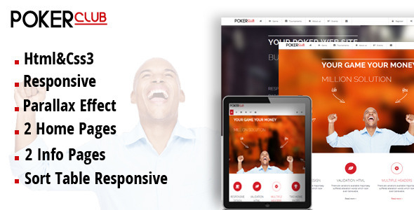Poker Club - Responsive Template - Business Corporate