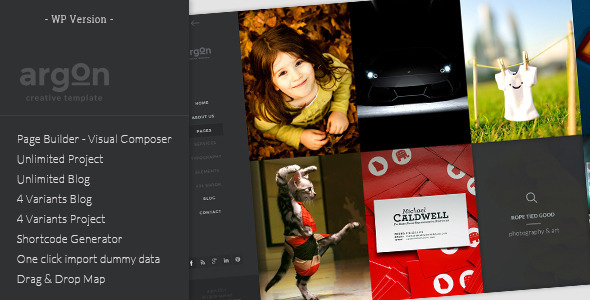 Argon - Full Screen Portfolio & Blog WP Theme - Creative WordPress