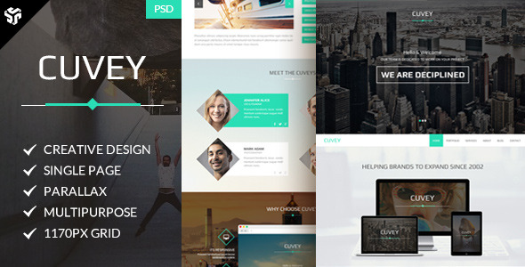 Cuvey | Multi-Purpose Parallax PSD Landing Page