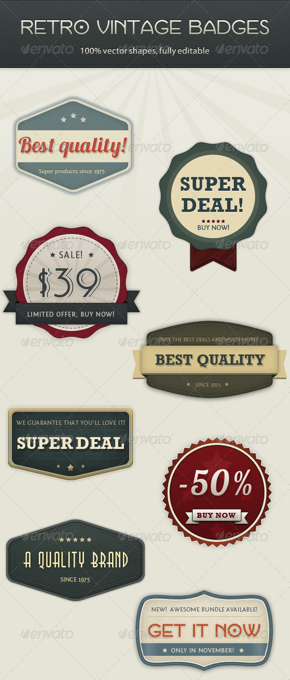 GraphicRiver Retro Vintage Badges 758395