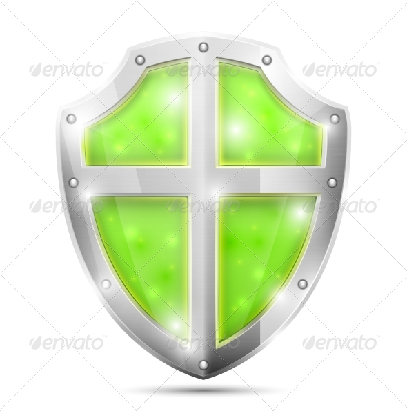 Glossy Magic Green Shield Icon