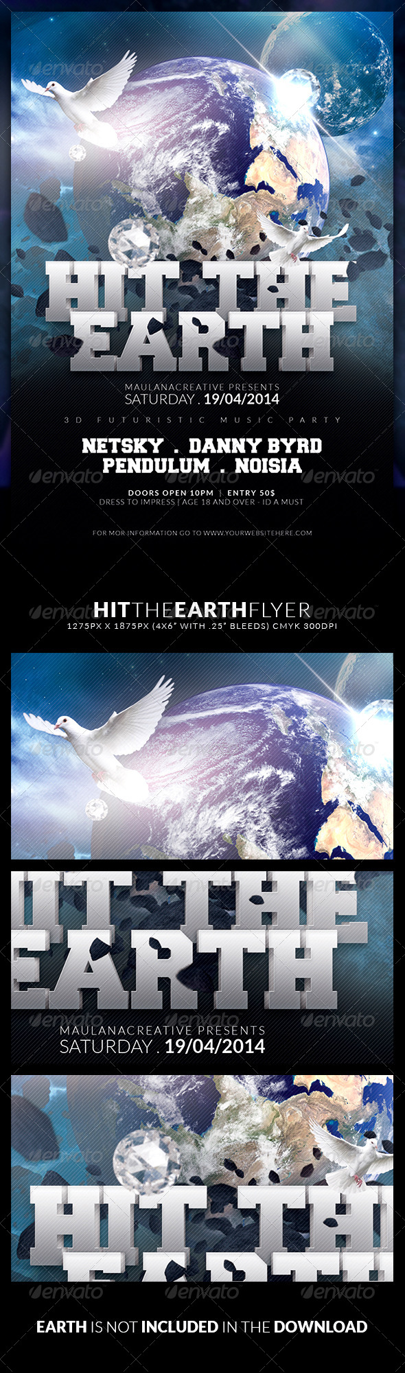 Hit the Earth Flyer - Clubs & Parties Events