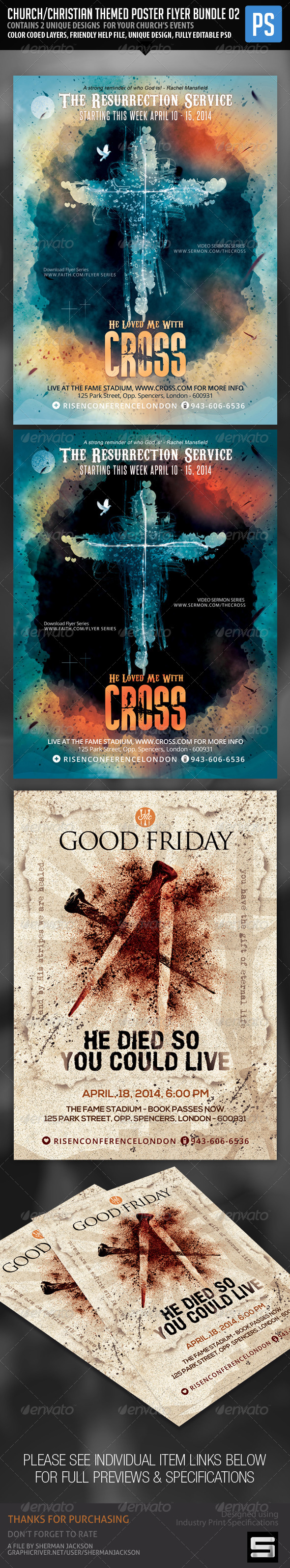 Church Christian Themed Poster Flyer Bundle#2