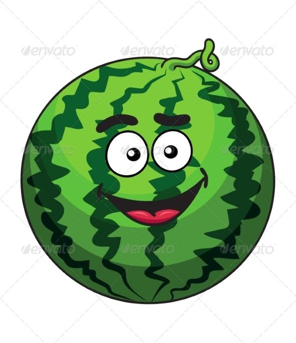 Cartoon Green Watermelon Fruit