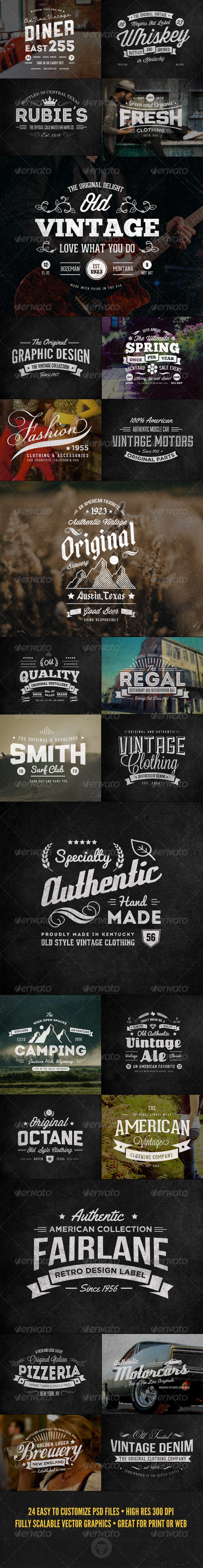 24 Vintage Labels and Logos Bundle - Badges & Stickers Web Elements