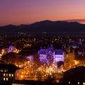 Panorama of Ljubljana at dusk.