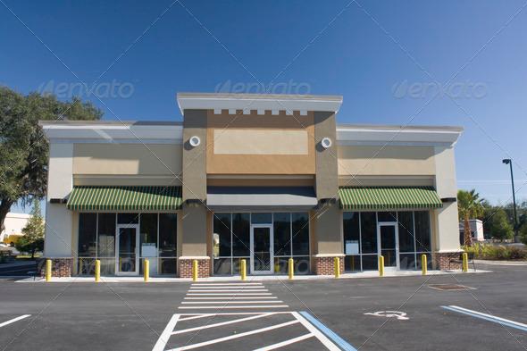 PhotoDune empty pastel brown strip mall 759142