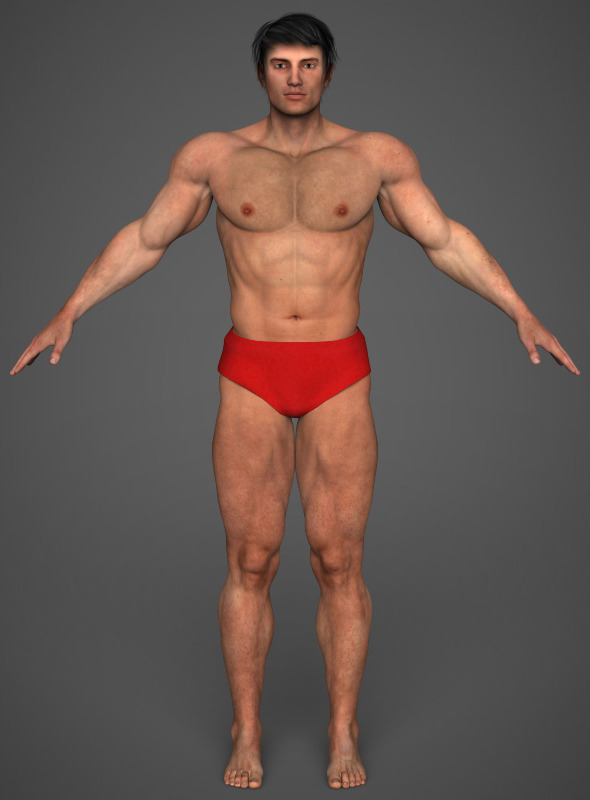 Realistic Bodybuilder Man - 3DOcean Item for Sale