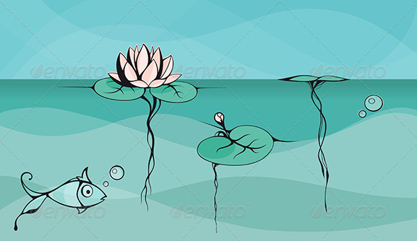 Asian Style Lotus in a Pond
