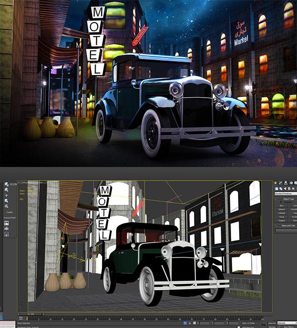 Retro classic Vehicle full scene market - 3DOcean Item for Sale