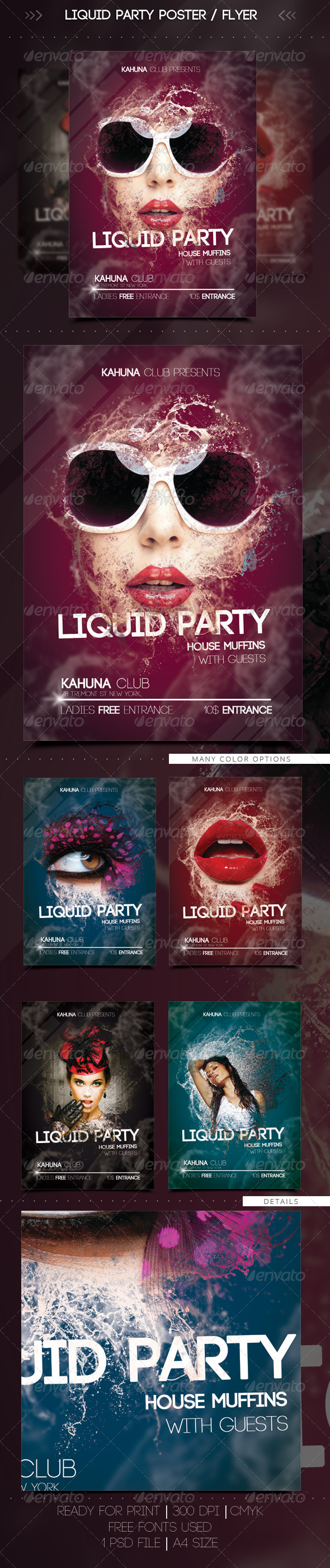 Wet Liquid Party Flyer / Poster - Clubs & Parties Events