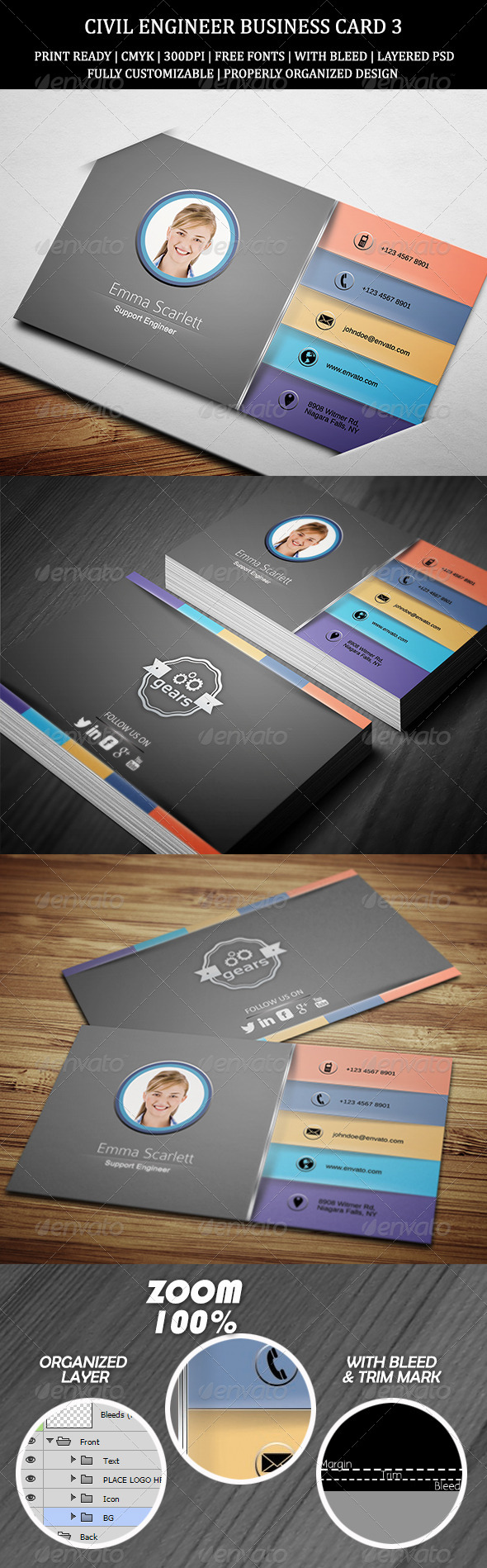 Civil Engineer Business Card 3 - Creative Business Cards