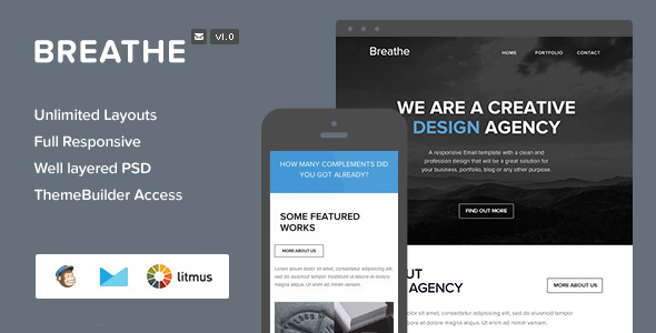 Breathe - Responsive Email + Themebuilder Access