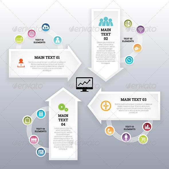 GraphicRiver Four Continuous Arrow Infographic Elements 7285753
