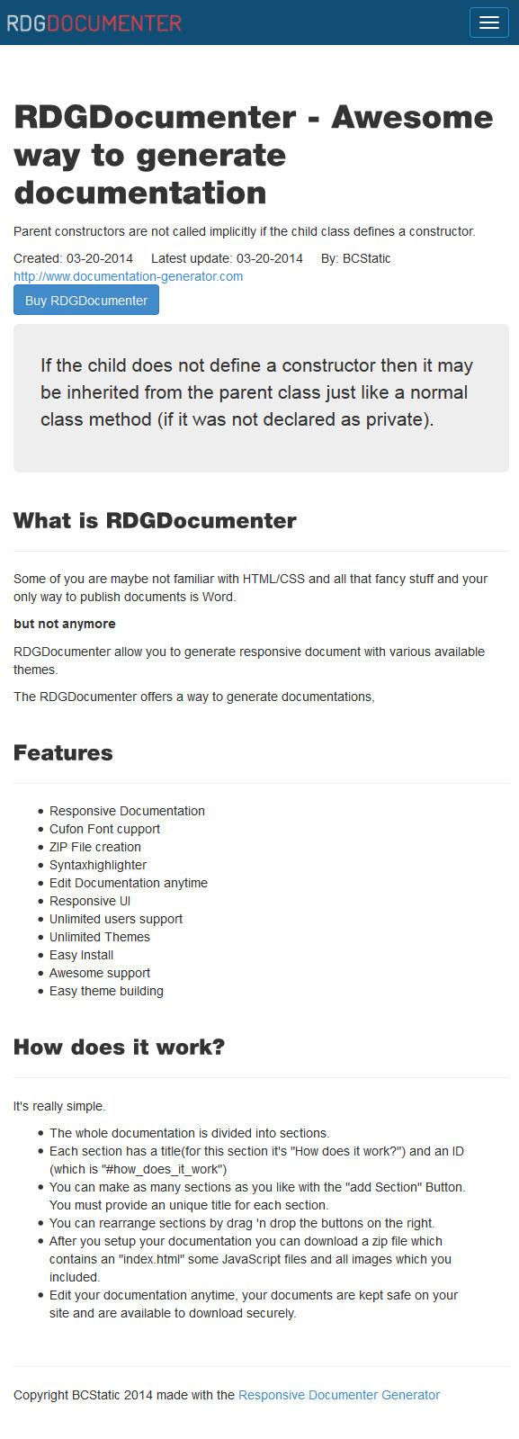responsive documentation generator php scripts codecanyon