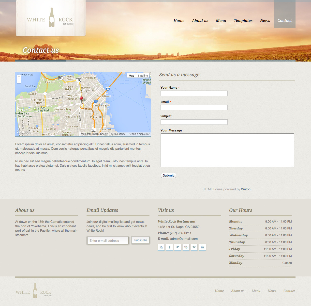 White Rock - Restaurant & Winery Site Template