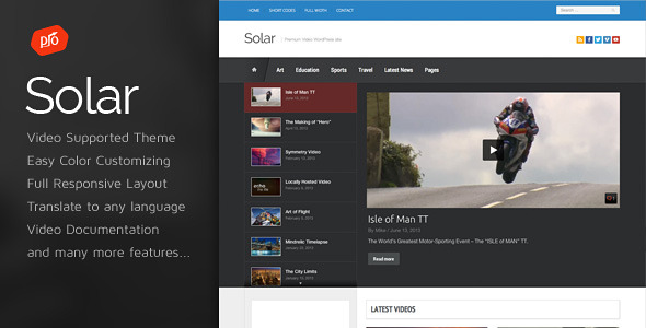 Solar v1.6 - Video WordPress Theme