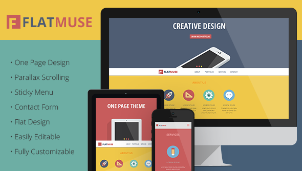 ThemeForest FlatMuse One Page Paralax Muse Template 6770801