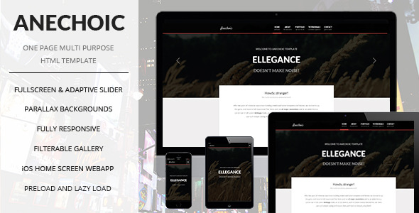 Anechoic | One Page Multipurpose Site Template