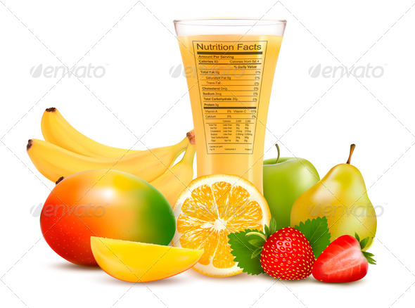 Fresh Fruit and a Glass of Juice with a Nutrition