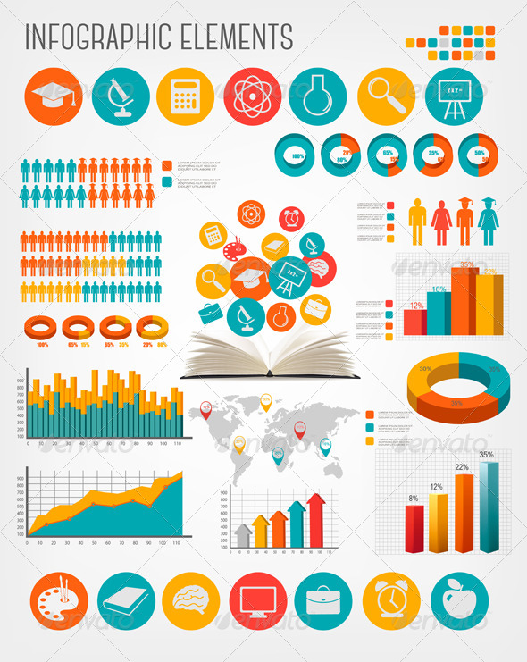 GraphicRiver Big Set of Flat Education Infographics Elements 7294320