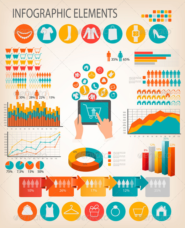 GraphicRiver Set of Shopping Infographics Elements 7294353