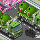 Isometric Glass Garbage Truck with Containers - GraphicRiver Item for Sale