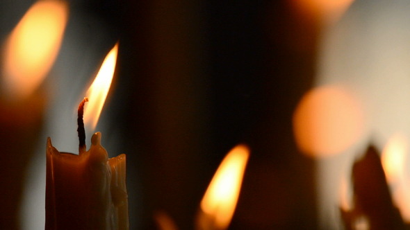Candle with Candles Defocused