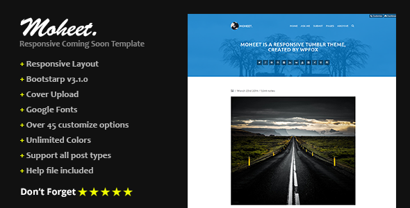 Moheet - Responsive Blog Thumblr Theme