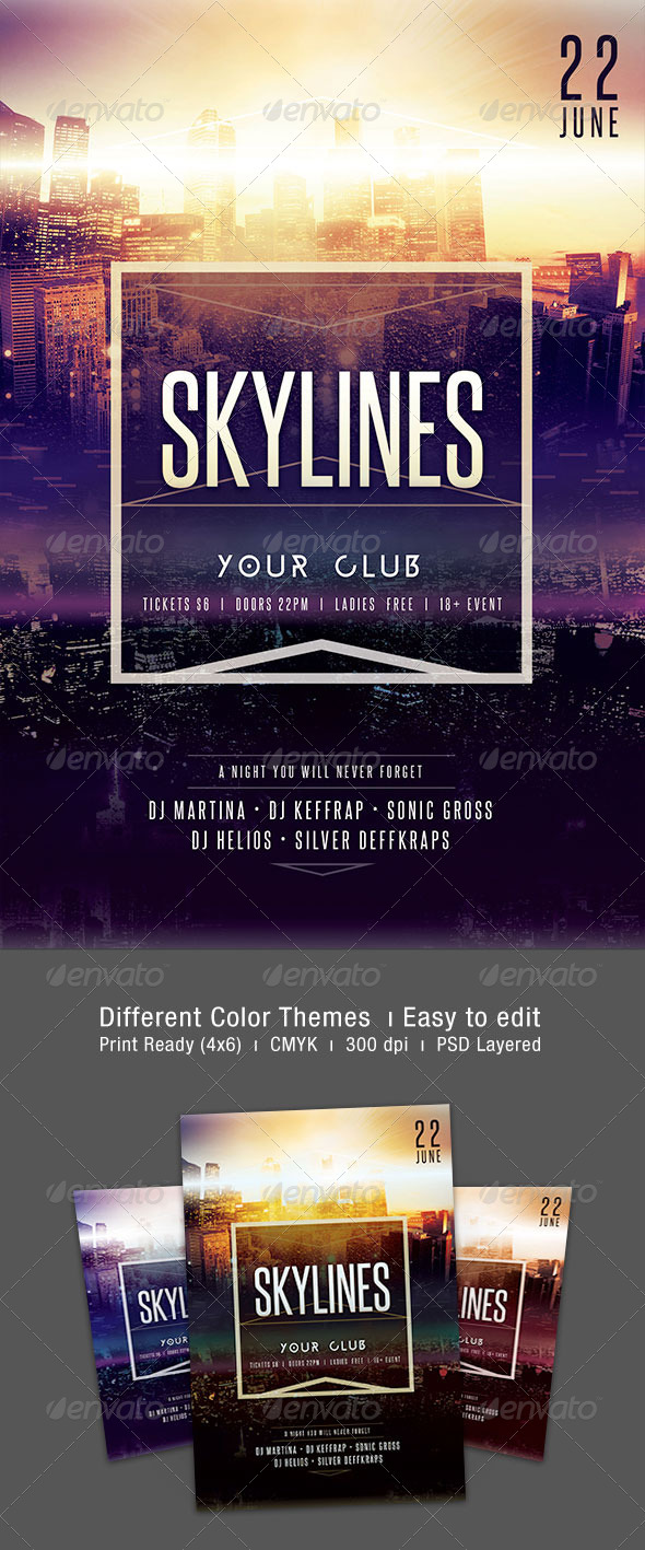 Skylines Flyer - Clubs & Parties Events