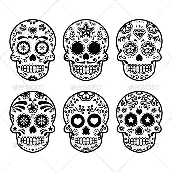Mexican sugar skull set graphicriver - Tatouage crane mexicain ...
