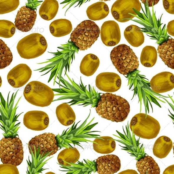 Pineapple and Kiwi Seamless Pattern