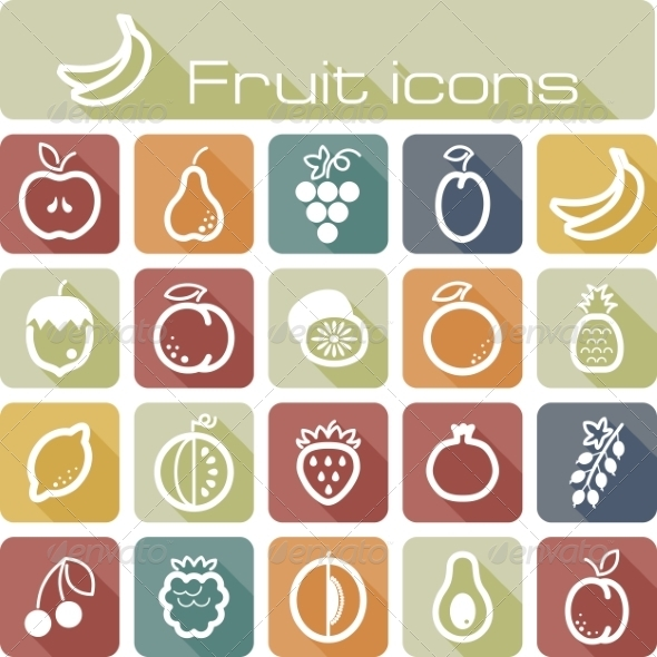 Icons Set Fruits