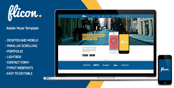 Flicon - One Page Parallax Muse Template - Corporate Muse Templates
