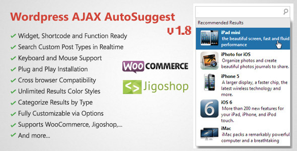 WordPress AJAX Search & AutoSuggest Plugin - CodeCanyon Item for Sale