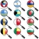 Set  Flags of World Sovereign States Magnifying Glass