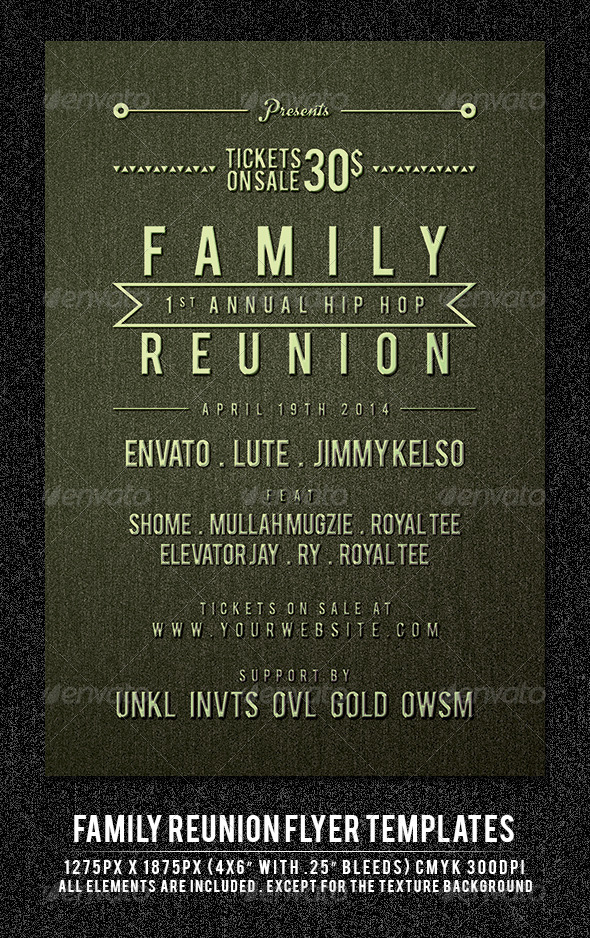 Family Reunion Flyer Template - Clubs & Parties Events