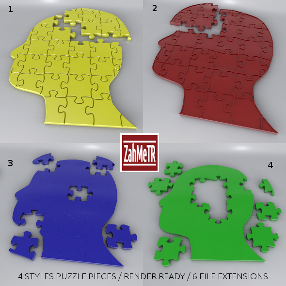 Jigsaw Puzzle Head - 3DOcean Item for Sale