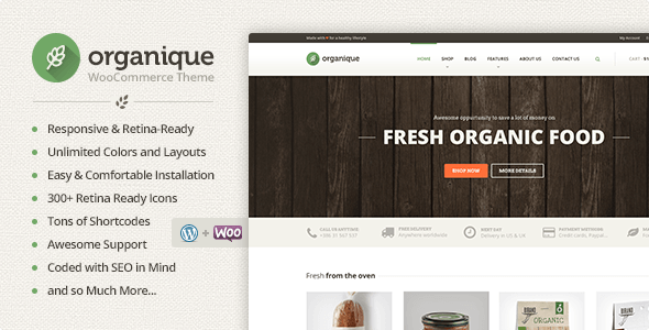 Organique - WordPress Theme For Healthy Food Shop - Food Retail