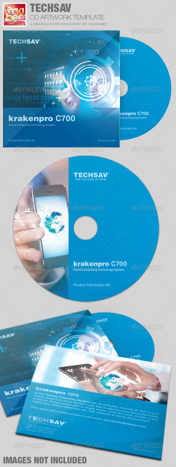 Techsav Corporate CD Artwork Template - CD & DVD artwork Print Templates