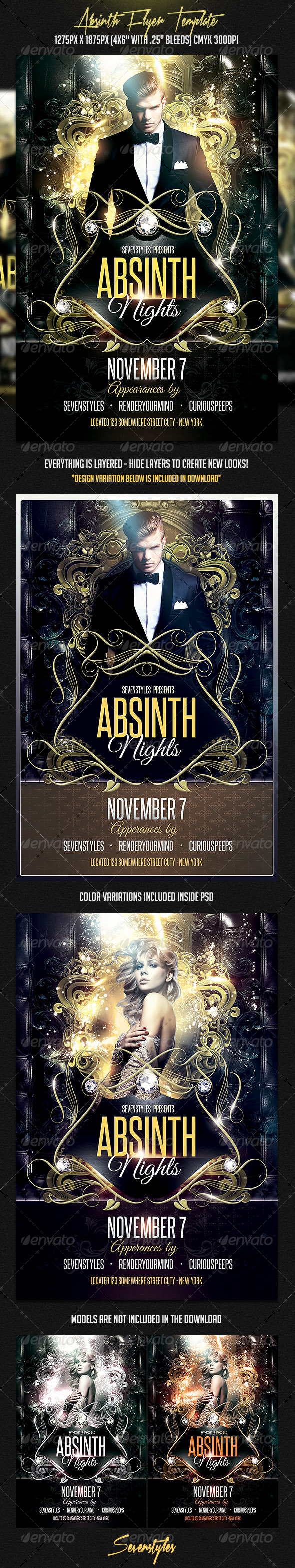 Absinth Flyer Template - Flyers Print Templates