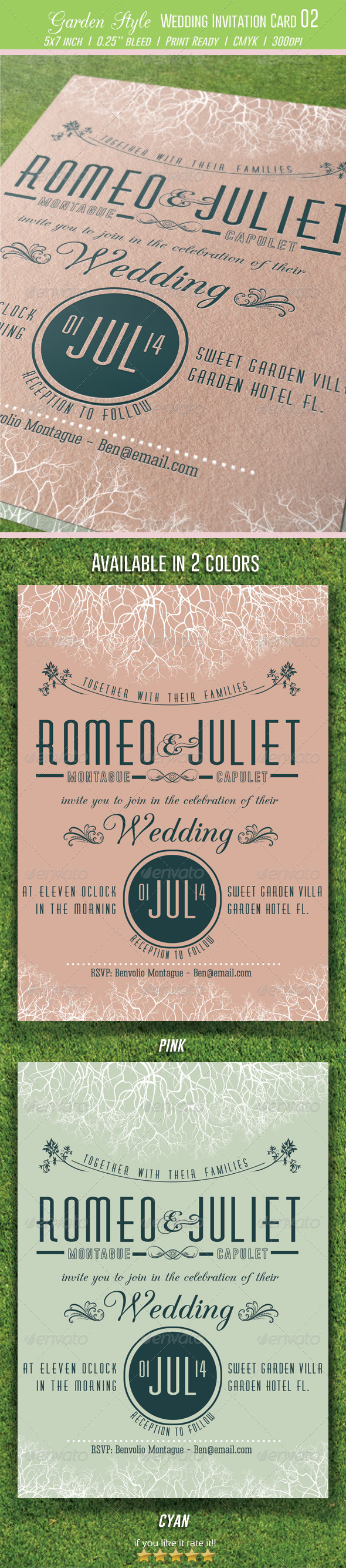 Garden Style Wedding Invitation Card 02