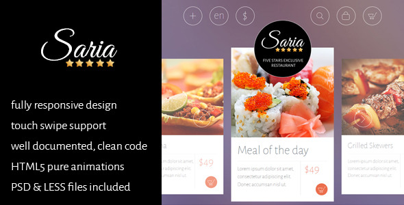 Saria Shop - Restaurant & Home Delivery template