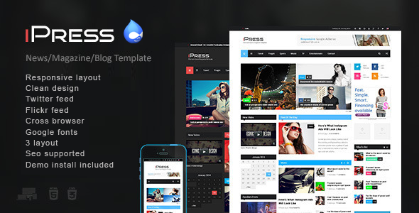 iPress - Responsive News/Magazine Drupal theme Download